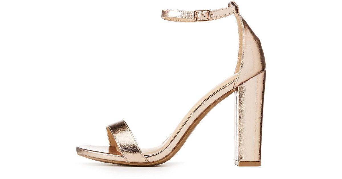 b067d5cc460 Lyst - Charlotte Russe Wide Width Metallic Ankle Strap Sandals in Metallic