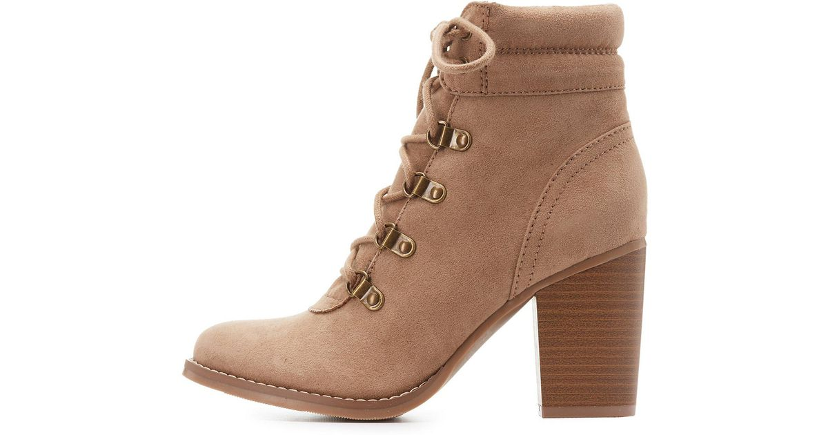 13f8d4118d31 Lyst - Charlotte Russe Faux Suede Lace-up Ankle Booties in Brown