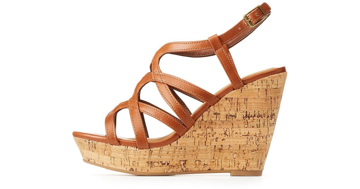 f0c4d899e38 Lyst - Charlotte Russe Strappy Wedge Sandals in Brown
