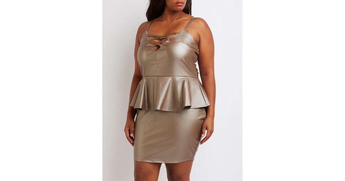Lyst Charlotte Russe Plus Size Faux Leather Lattice Peplum Dress