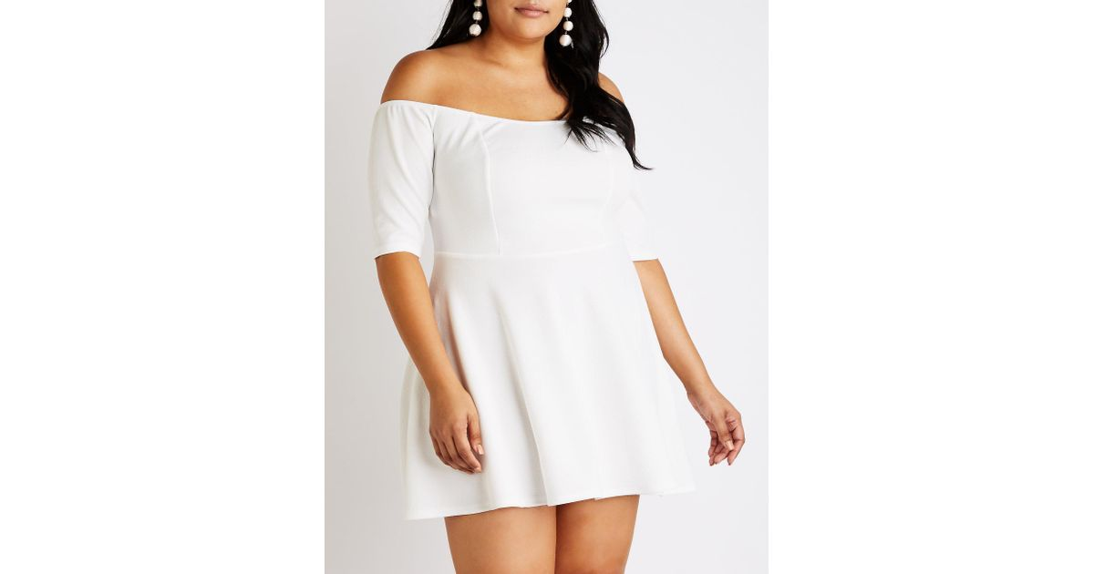 Charlotte Russe - White Plus Size Off The Shoulder Skater Dress - Lyst