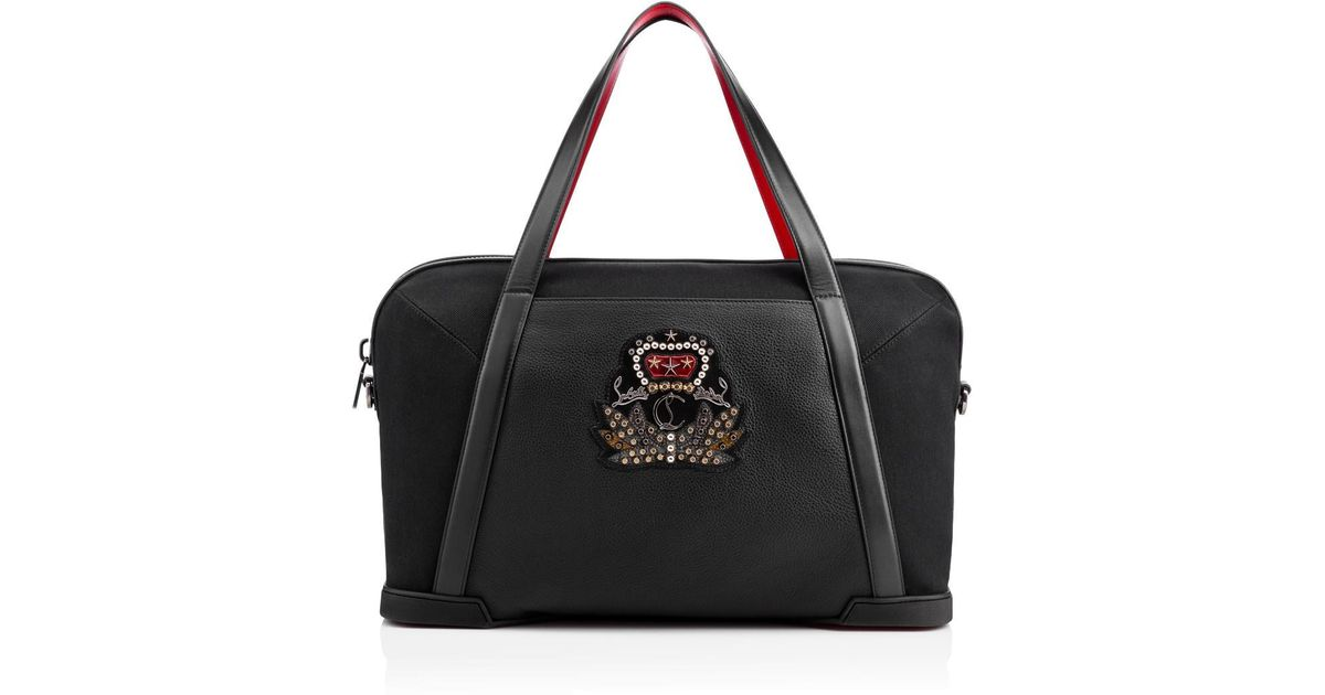 2f060d735c5 Christian Louboutin - Bagdamon Duffle Black Cotton Canvas And Calfskin for  Men - Lyst