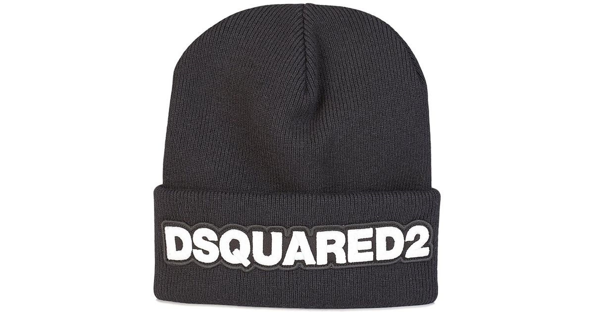 DSquared² Dsquared Chunky Knit Beanie in Black for Men - Lyst d82630406c5
