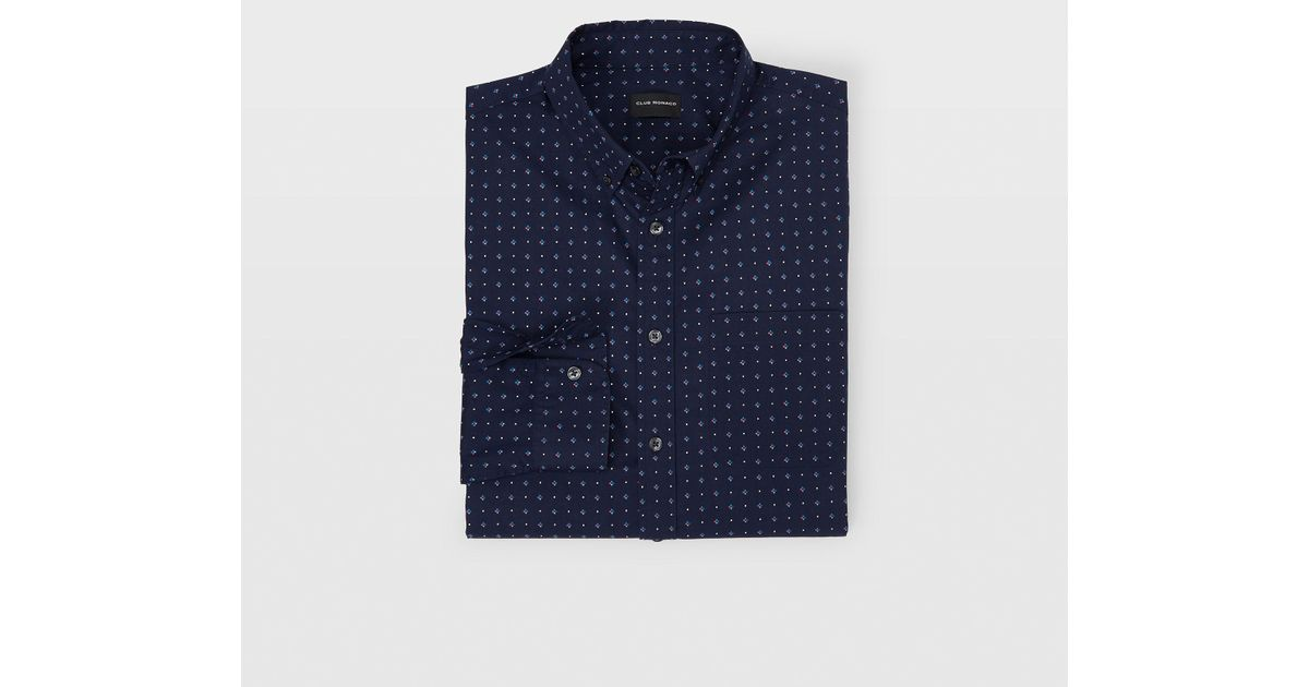 e40d5bc422a Lyst - Club Monaco Slim Geo Shirt in Blue for Men