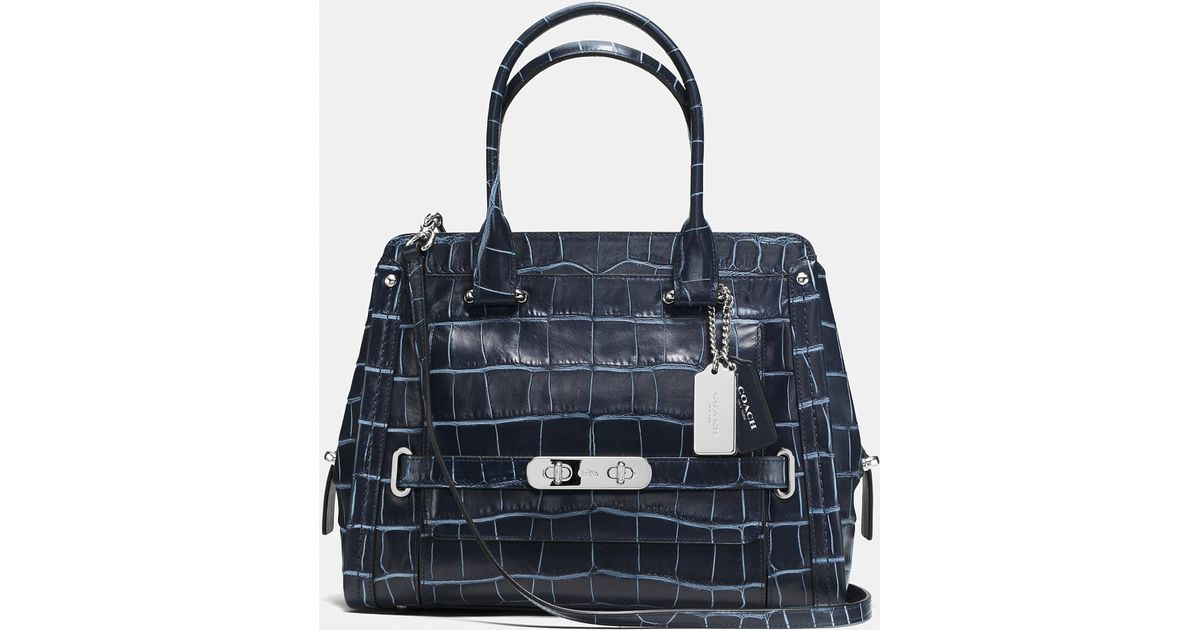 b7947b7c7b COACH Swagger Frame Satchel In Denim Croc-embossed Leather in Blue - Lyst