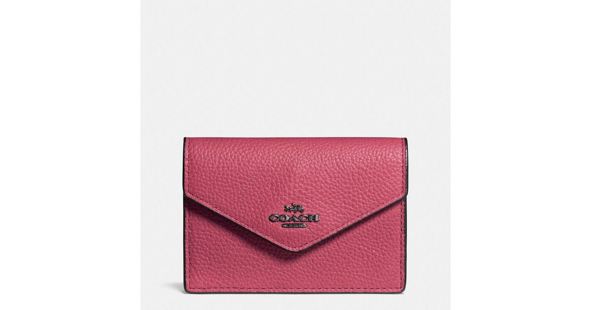 bd462e95ab23 COACH Envelope Card Case In Polished Pebble Leather - Lyst