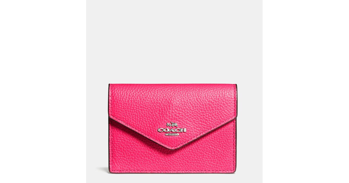 1148149607e9 Lyst - COACH Envelope Card Case In Polished Pebble Leather in Pink