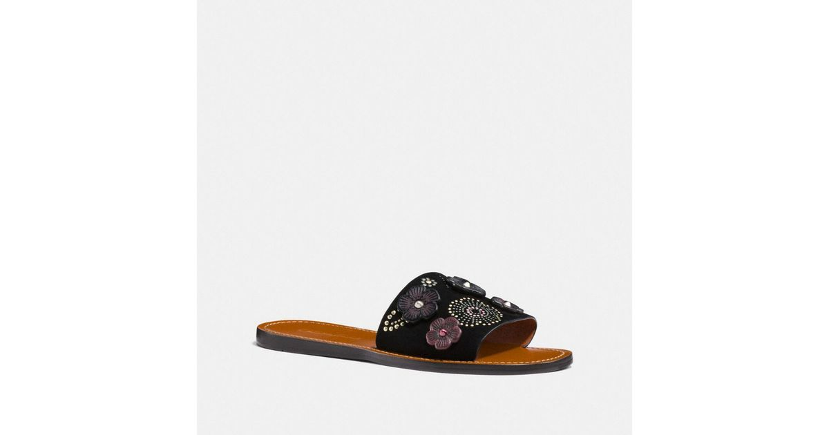 f9c04bbd5ae Lyst - COACH Slide With Tea Rose Rivets in Black