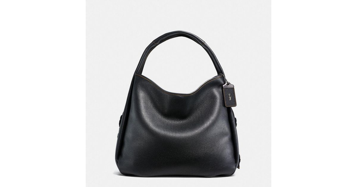5cd0f2cad6 COACH Bandit Hobo 39 In Natural Pebble Leather With Tooled Tea Rose in  Black - Lyst