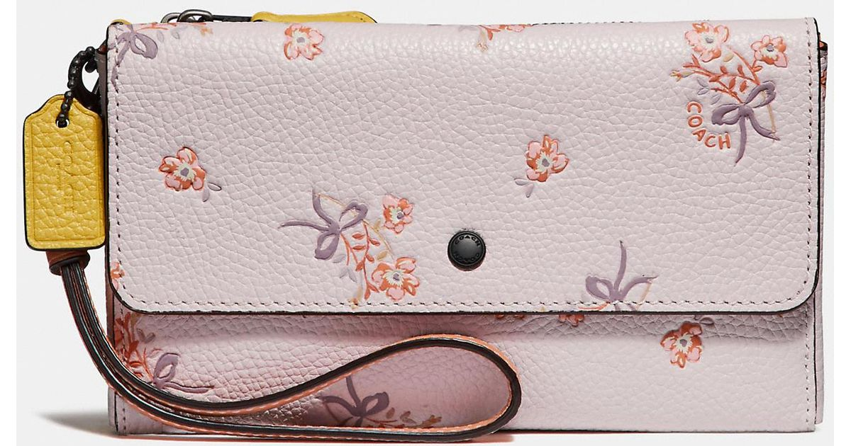 b65abe966b Lyst - COACH Triple Small Wallet In Colorblock With Floral Bow Print in Pink