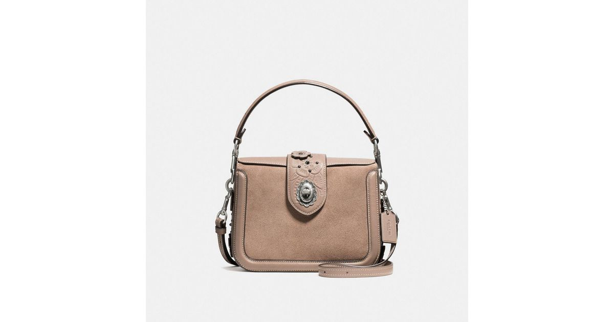 6b0e67b1bdaf Lyst - COACH Page Crossbody In Glovetanned Leather With Painted Tea Rose  Tooling