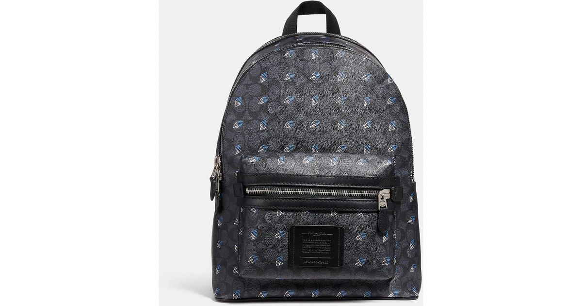 4d16c6bb903e Lyst - COACH Academy Backpack In Signature Canvas With Dot Diamond Print in  Gray for Men