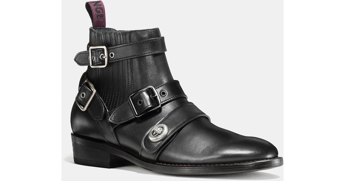1efa70797be2b Lyst - COACH Strapped Chelsea Biker Boot in Black for Men