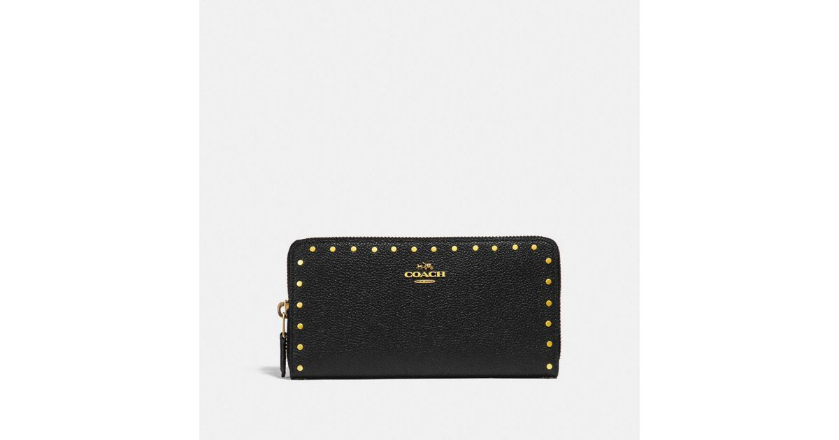 e75057b6ff Coach Accordion Zip Wallet With Rivets in Black - Lyst