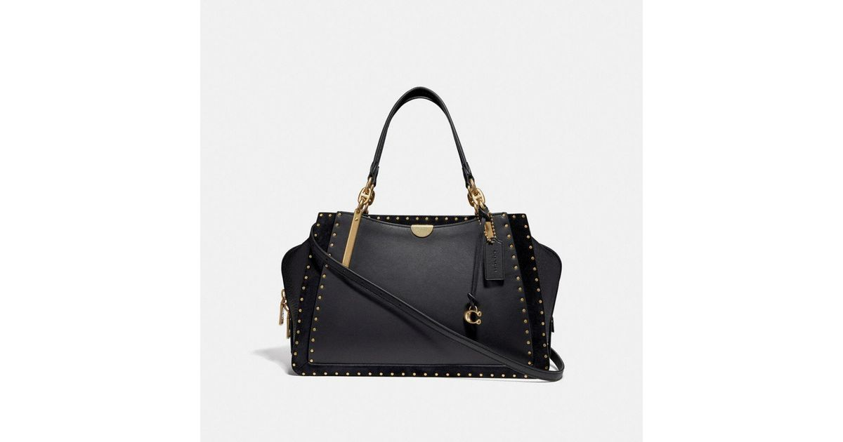 a214728442 Lyst - COACH Dreamer 36 With Rivets in Black