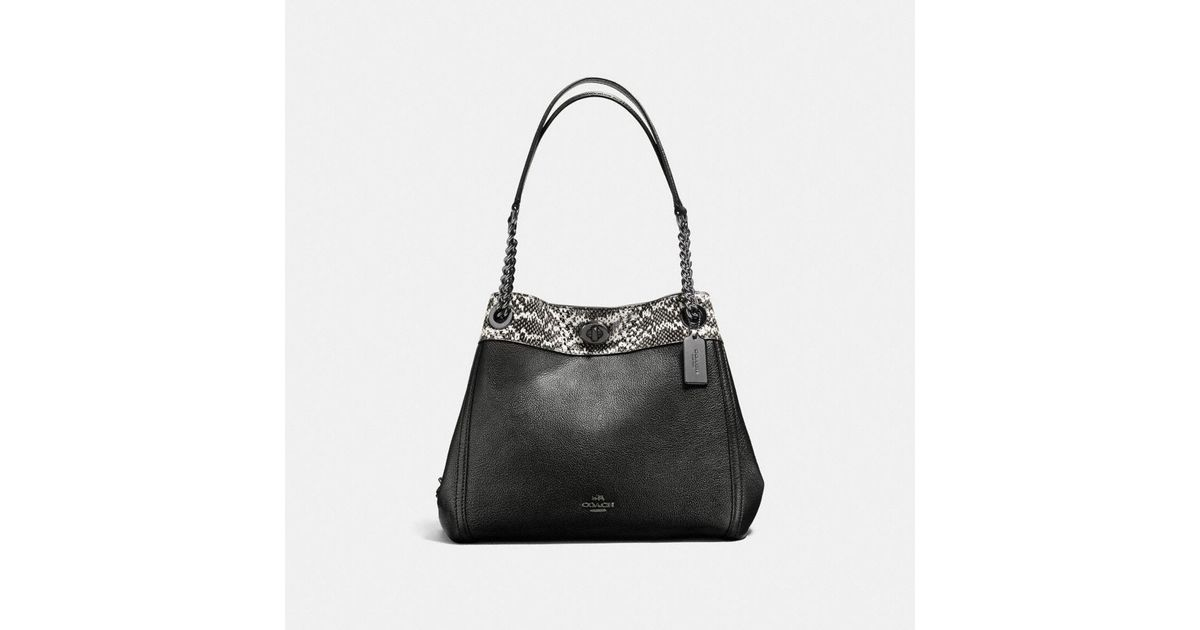 Lyst Coach Turnlock E Shoulder Bag In Colorblock With Snakeskin Detail Black