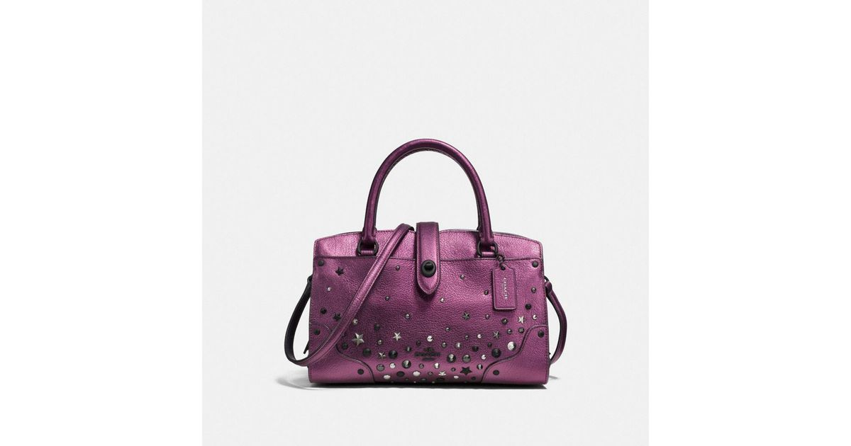 b5ea0726ed COACH Mercer Satchel 24 In Metallic Leather With Star Rivets in Purple -  Lyst