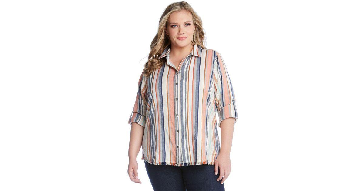 aa12a03a Lyst - Karen Kane Fringe Button Up Shirt
