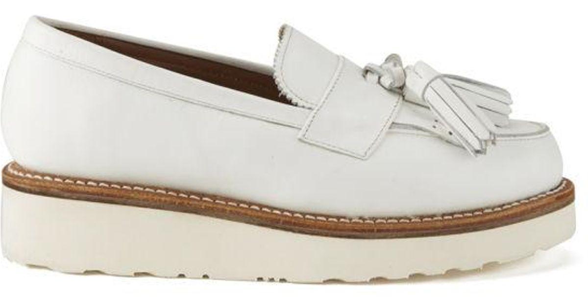 416862cb4ba Grenson Women s Clara Leather Platform Tassel Loafers in White - Lyst