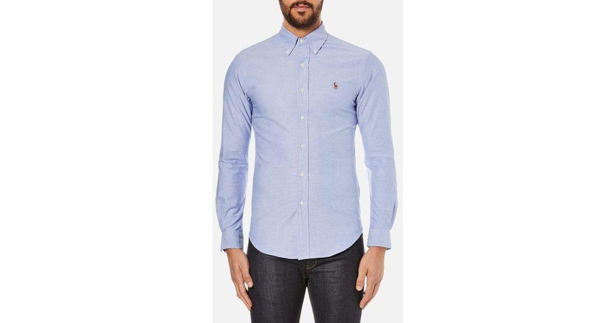 eb32e0646 Polo Ralph Lauren Men s Slim Fit Button Down Stretch Oxford Shirt in Blue  for Men - Lyst