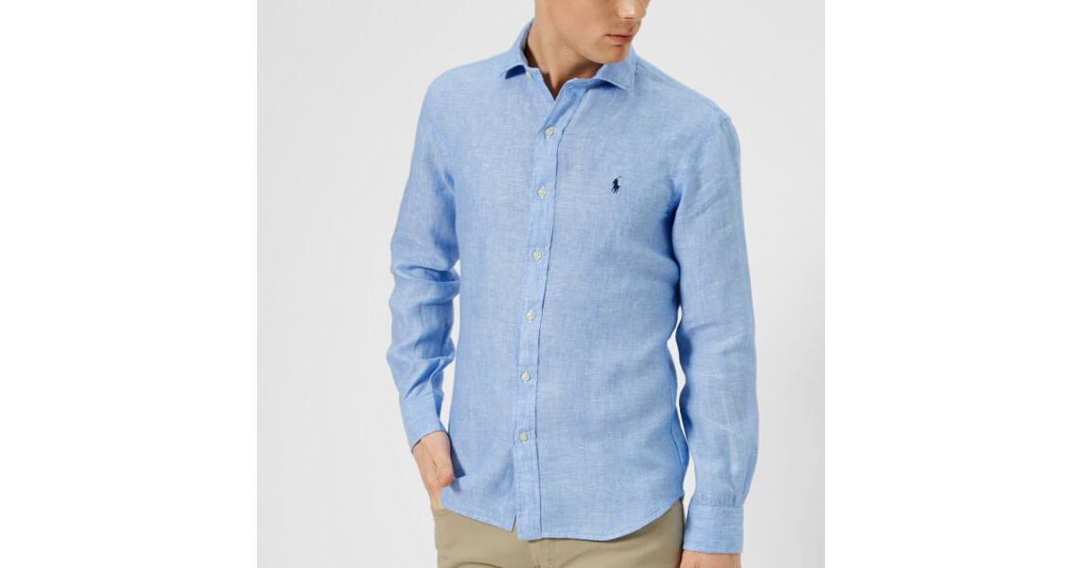a4e15e01692 Polo Ralph Lauren Men s Long Sleeve Linen Shirt in Blue for Men - Lyst
