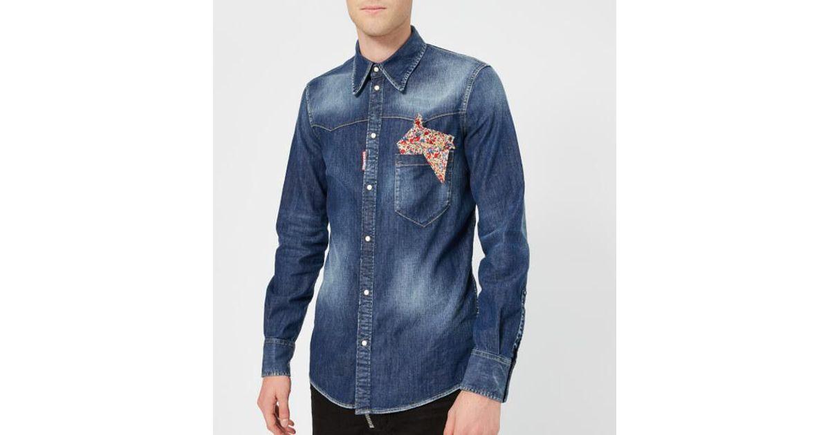 28258737c13 Lyst - DSquared² Men s Stretch Denim Fashion Western Shirt in Blue for Men