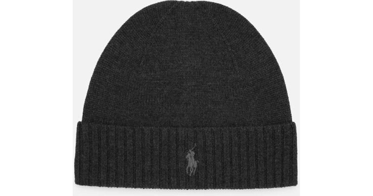 604f2031666 Polo Ralph Lauren Men S Merino Wool Beanie Hat In Gray For Lyst