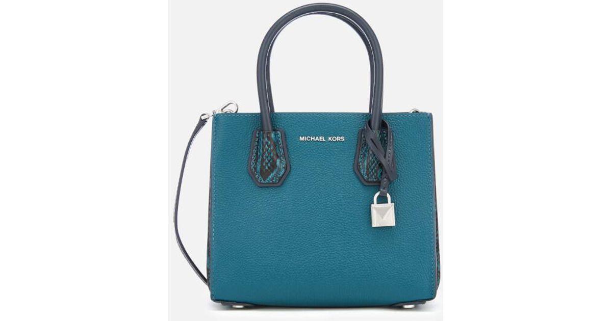 7b121c504626 Lyst - MICHAEL Michael Kors Women's Mercer Medium Messenger Bag in Blue -  Save 11.284046692607006%