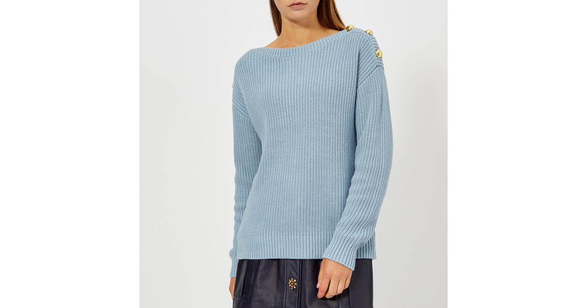 3afd57495973 Lyst - MICHAEL Michael Kors Boatneck Button Sweater in Blue