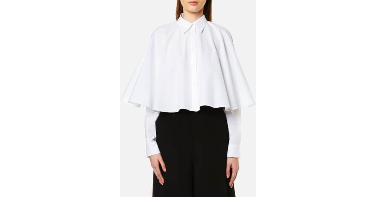 288a0df81aa108 MM6 by Maison Martin Margiela Women's Cropped Cape Shirt in White - Lyst