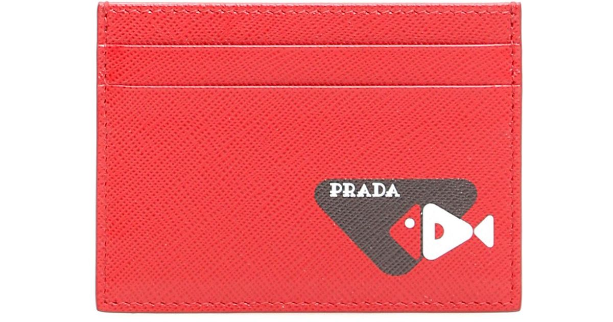 c1eaa35696fb Prada Credit Card Holder With Fish Print in Red for Men - Lyst
