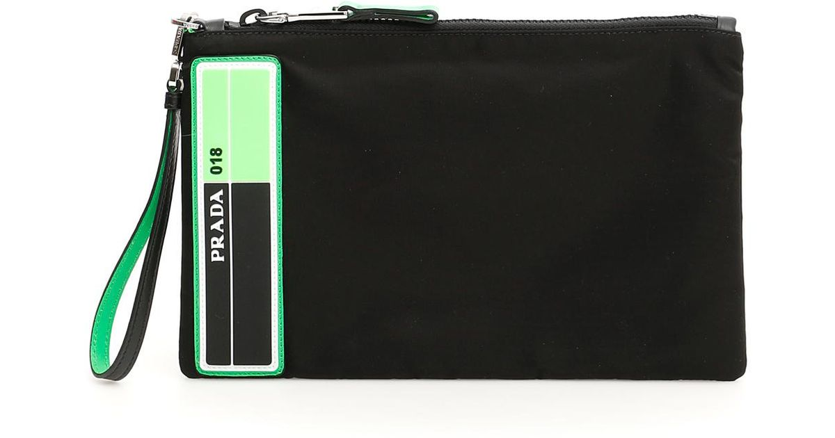 38763cf2b6a7 Lyst - Prada Flat Pouch With Wristlet in Black for Men