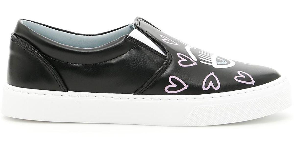 5a047b4b77200 Chiara Ferragni Hearts Candy Flirting Slip-ons in Black - Lyst