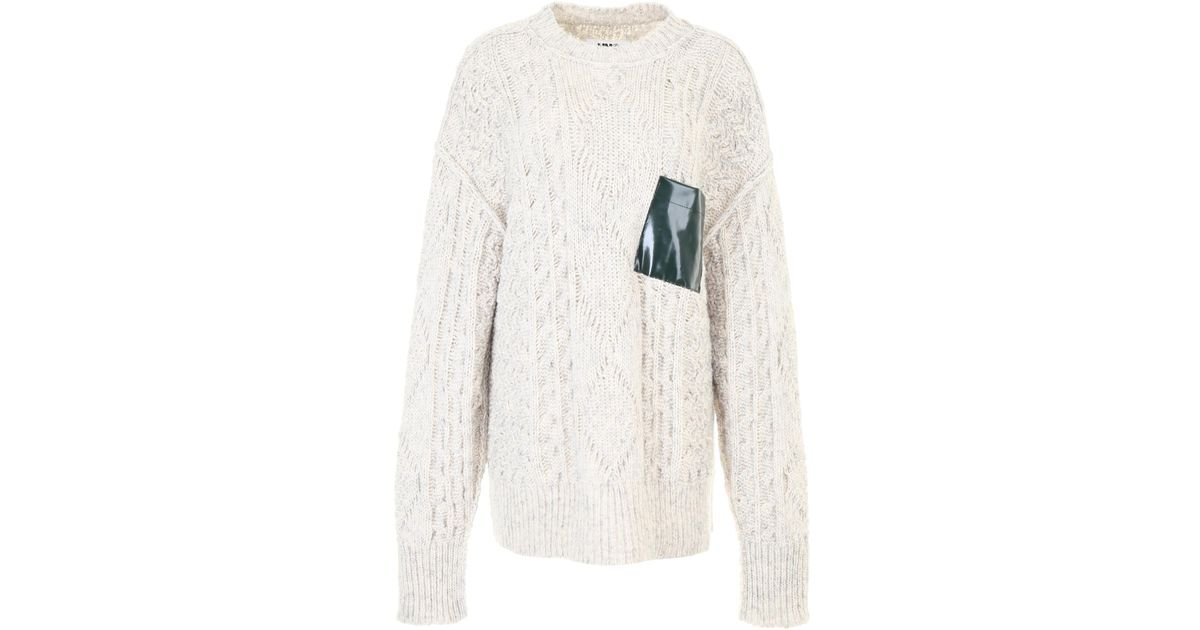 0a2aae98e8 MM6 by Maison Martin Margiela Gauge Oversized Cable Knitted Jumper With  Pocket in White - Save 43% - Lyst