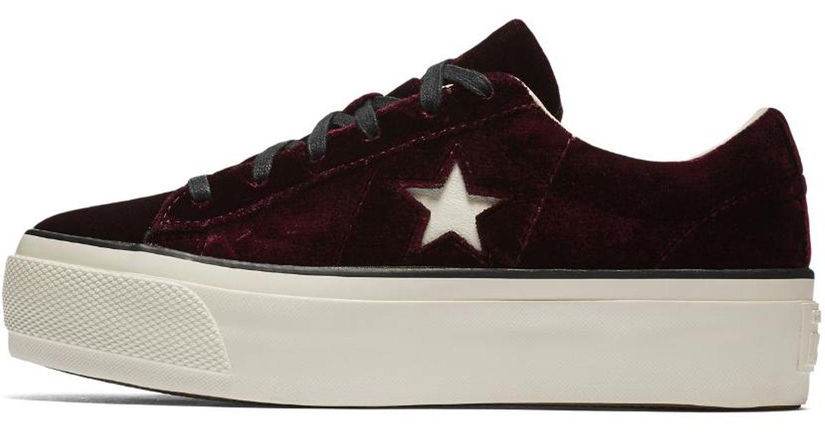 476a3649a2de Lyst - Converse One Star Velvet Platform Low Top Women s Shoe in Red