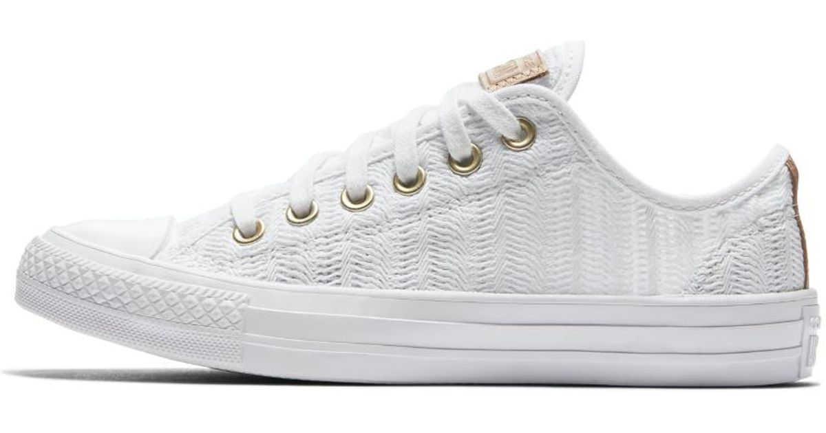 c9c83cb795ff Lyst - Converse Chuck Taylor All Star Herringbone Mesh Low Top Women s Shoe  in White