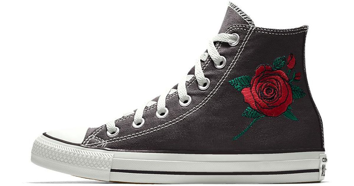 923c12220ea9 Lyst - Converse Custom Chuck Taylor All Star Rose Embroidery High Top Shoe  in Black
