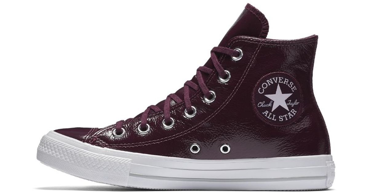7803d512c2cc Lyst - Converse Chuck Taylor All Star Crinkled Patent Leather High Top Women s  Shoe in Red