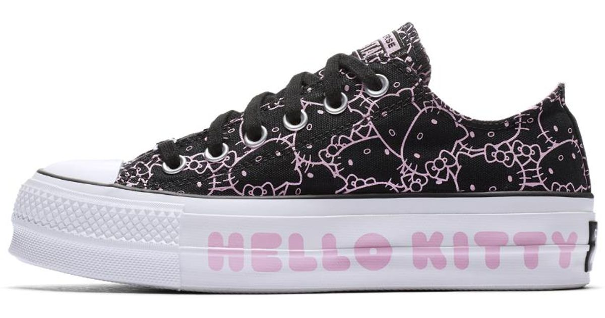 850487e9082 Lyst - Converse X Hello Kitty Chuck Taylor All Star Clean Lift Canvas Low  Top Women s Shoe in Black