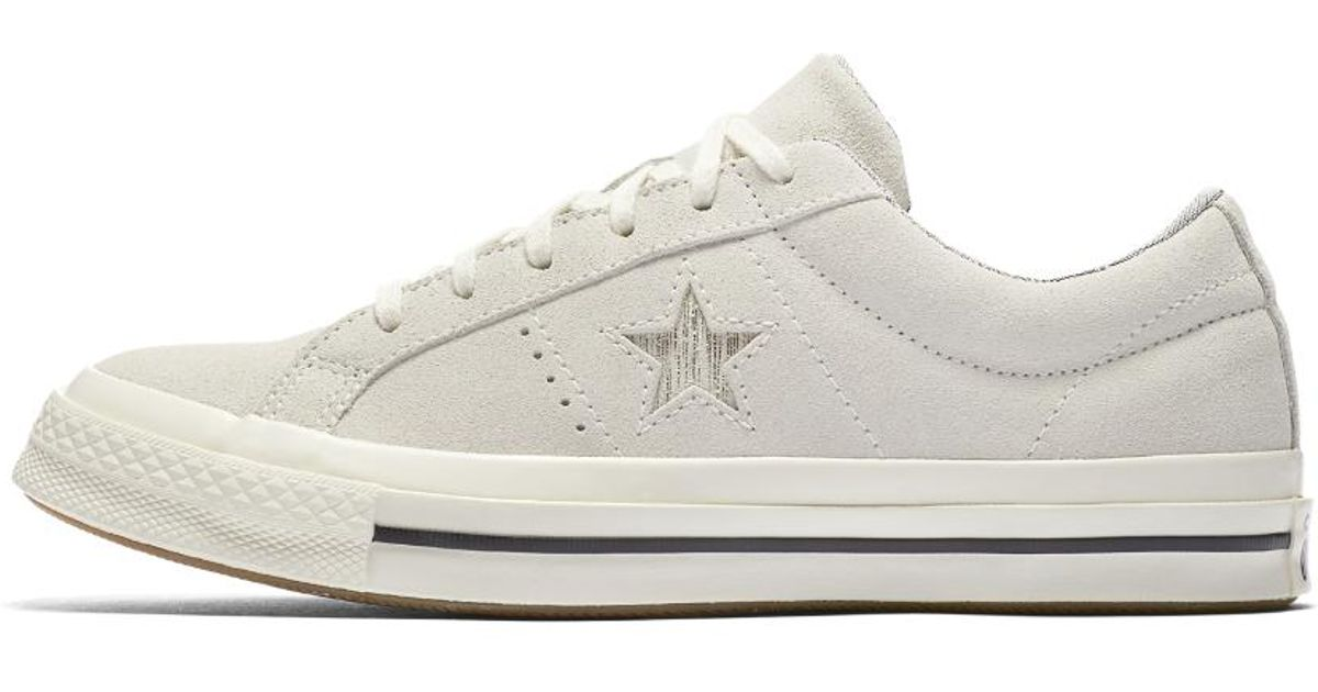 Lyst - Converse One Star Precious Metal Suede Low Top Women s Shoe in White 685718b00