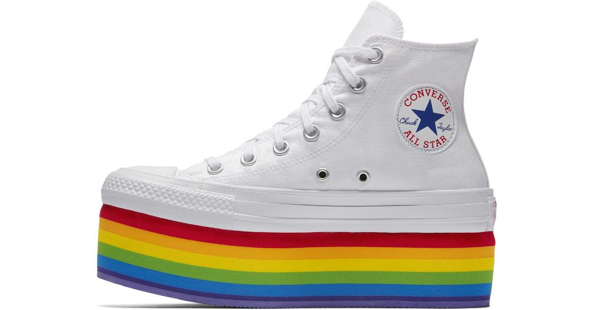 3238963ac9af Lyst - Converse Pride X Miley Cyrus Chuck Taylor All Star Platform High Top  Shoe in Metallic