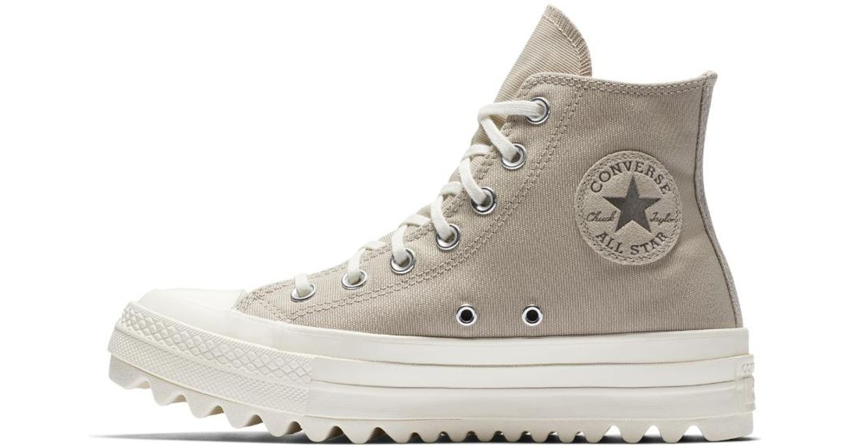 d9208639398a Lyst - Converse Chuck Taylor All Star Lift Ripple Precious Metal High Top  Women s Shoe in Brown