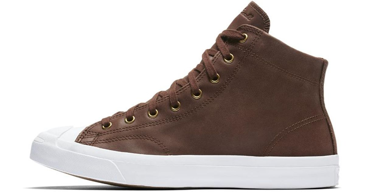 9d14285a1f02 ... lp l s brown leather high tops shoes 13588229 cbf59 a9c7f  sweden lyst converse  jack purcell mid boot leather high top mens shoe in brown for men