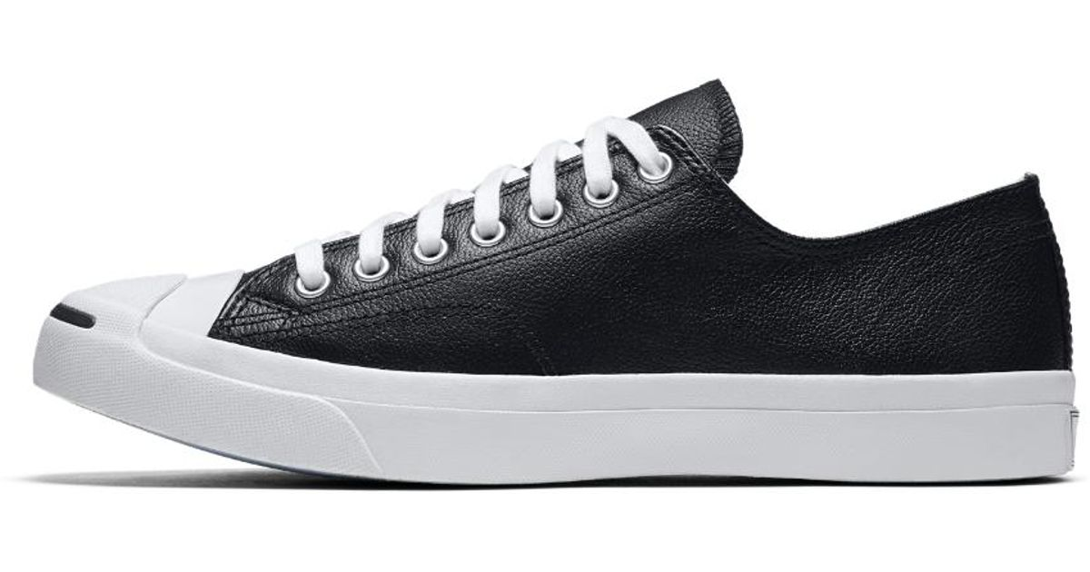 2a3df3cfeee9fd Lyst - Converse Jack Purcell Tumbled Leather Low Top Shoe in Black for Men