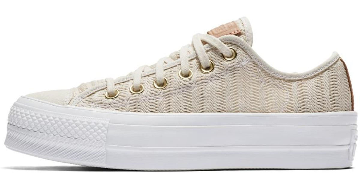 a3cdfac11858 Lyst - Converse Chuck Taylor All Star Lift Herringbone Mesh Low Top Women s  Shoe in White