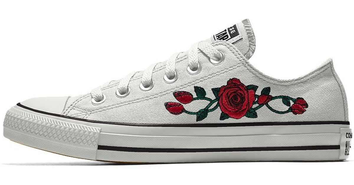 f66ea4e18e02 Lyst - Converse Custom Chuck Taylor All Star Rose Embroidery Low Top Shoe  in White