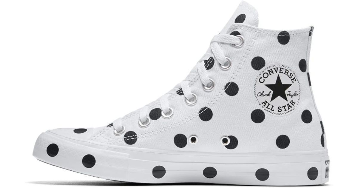 5fb4eb82a73a Lyst - Converse Chuck Taylor All Star Polka Dots High Top Women s Shoe in  White