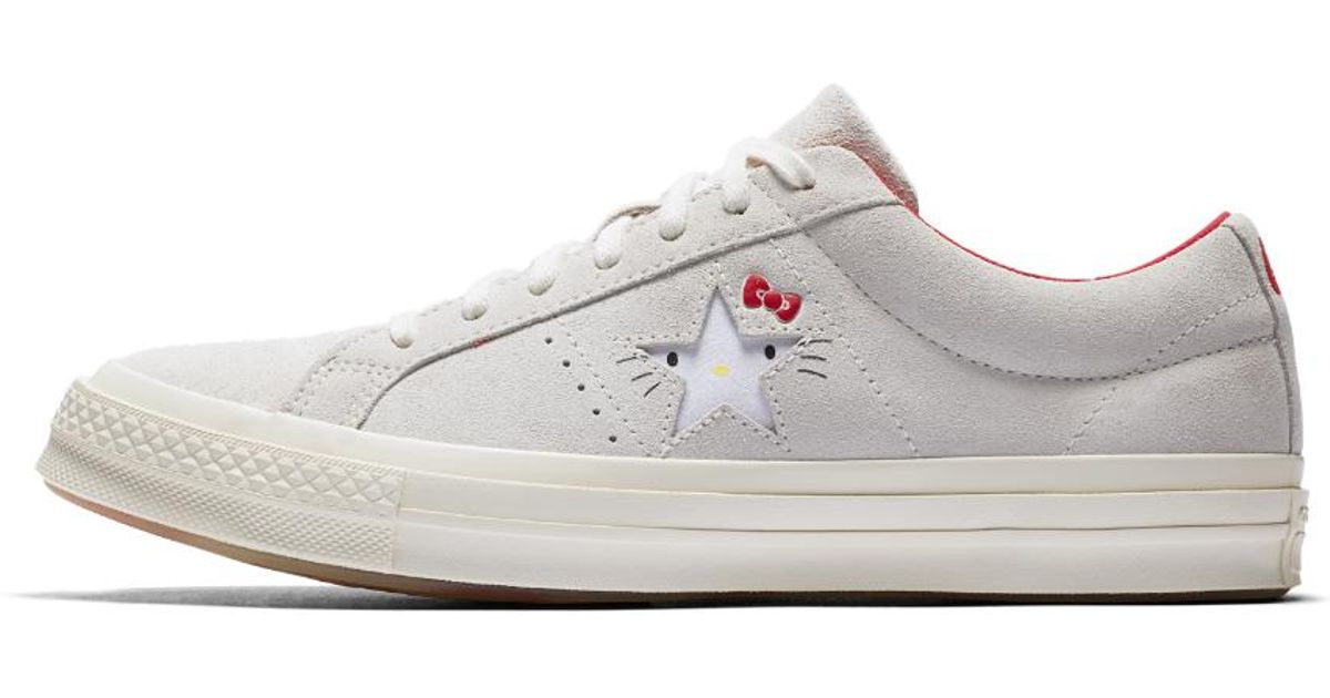 Lyst - Converse X Hello Kitty One Star Suede Low Top Shoe in White 3ffb5e6be