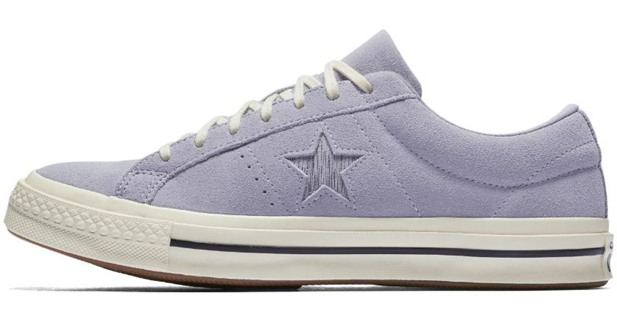 Lyst - Converse One Star Precious Metal Suede Low Top Women s Shoe in White 0cc3a5d0b6