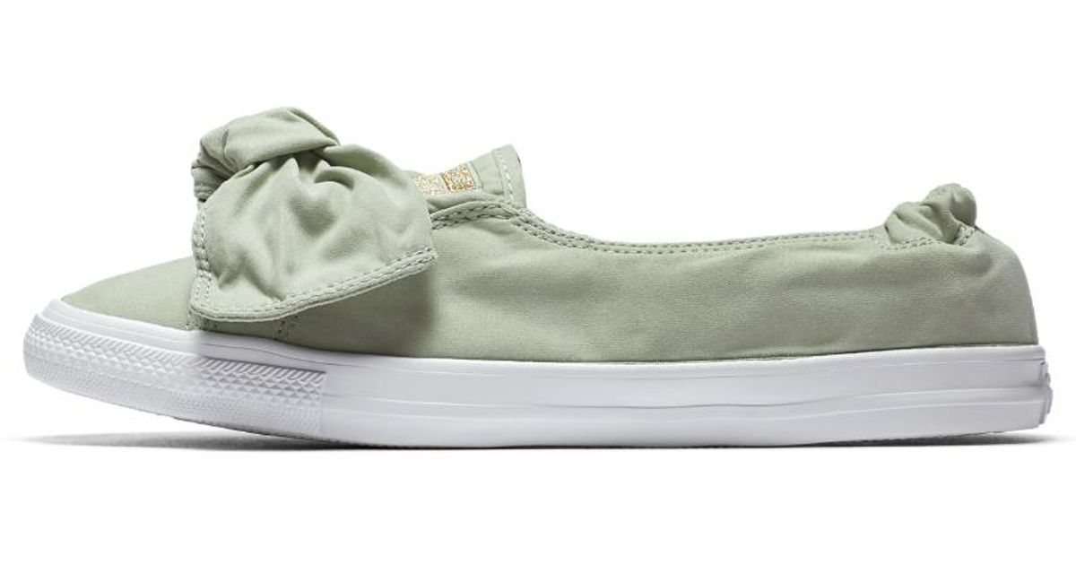 96ae9af729a Lyst - Converse Chuck Taylor All Star Knot Brushed Twill Low Top Women s  Slip in Green